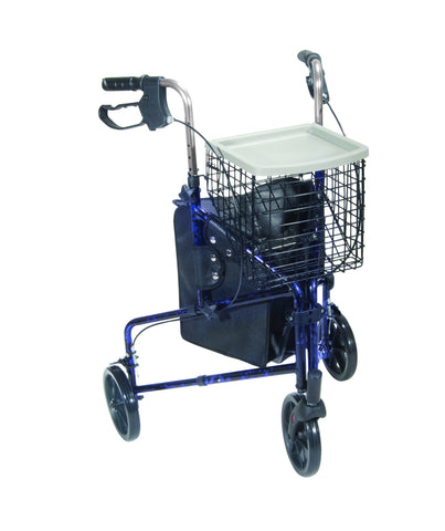 3 Wheel Walker Rollator with Basket Tray and Pouch, Flame Blue