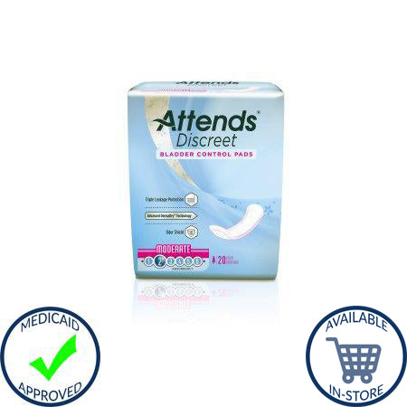 Bladder Control Pad Attends® Discreet 10-1/2 Inch Length Moderate Absorbency Polymer Female Disposable
