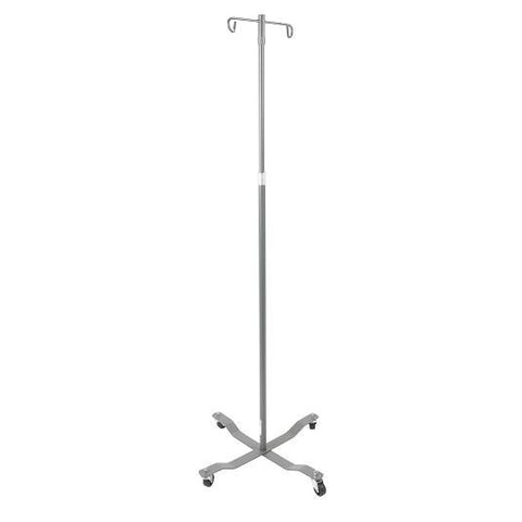 Economy Removable Top I. V. Pole, 2 Hook Top, Silver Vein