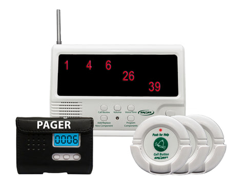 433-CMU-40, (3) 433-NC, 433-PRB, AC adapter - Economy Central Monitoring Unit, 3 nurse call buttons, LCD pager with reset button
