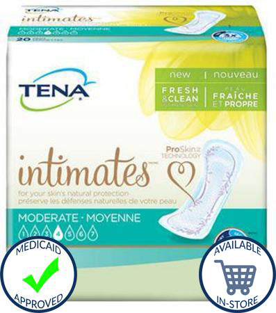Bladder Control Pad TENA® Intimates™ 11 Inch Length Moderate Absorbency Polymer Female Disposable