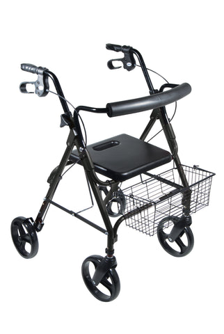 "DLite Lightweight Walker Rollator with 8"" Wheels and Loop Brakes, Midnight Black"