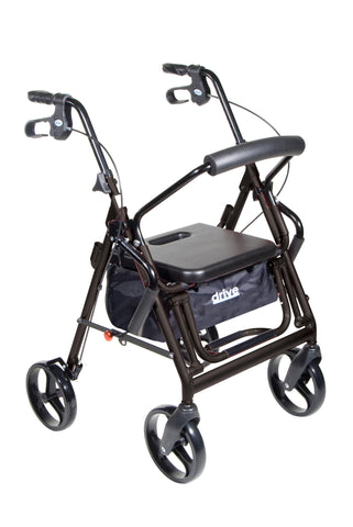 Duet Dual Function Transport Wheelchair Walker Rollator, Black
