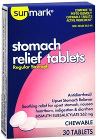 Sunmark® Anti-Diarrheal 262 mg Strength Chewable Tablet 30 per Box