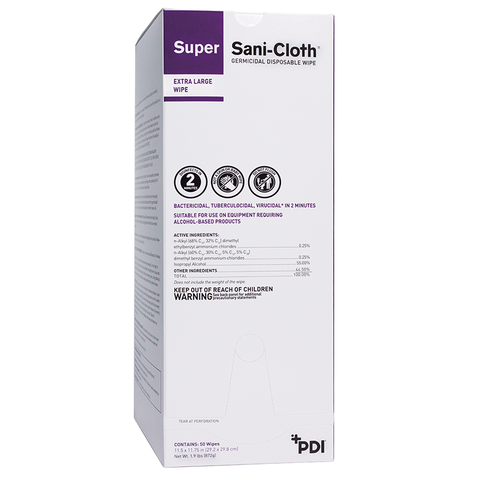 Super Sani-Cloth® Germicidal Disposable Wipe - Extra Large Individual Packet (U87295)
