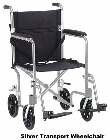 "19"" Flyweight Lightweight Silver Transport Wheelchair"