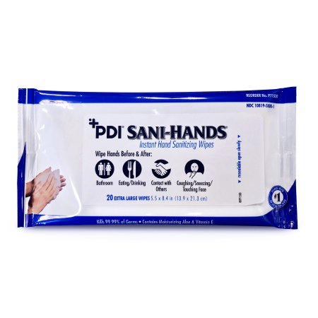 PDI Hand Sanitizing Wipe Sani-Hands® 20 Count Ethyl Alcohol Wipe Soft Pack