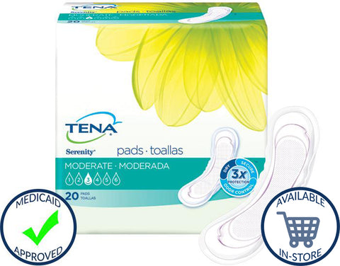 Tena® Bladder Control Pad Serenity® Moderate Absorbency Polymer Female Disposable
