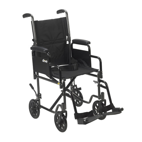 "Lightweight Steel Transport Wheelchair, Detachable Desk Arms, 19"" Seat"