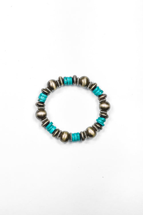 Storefront - faux Navajo pearl stretch bracelet with turquoise discs