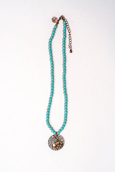 Storefront - Turquoise necklace with Bronc rider charm