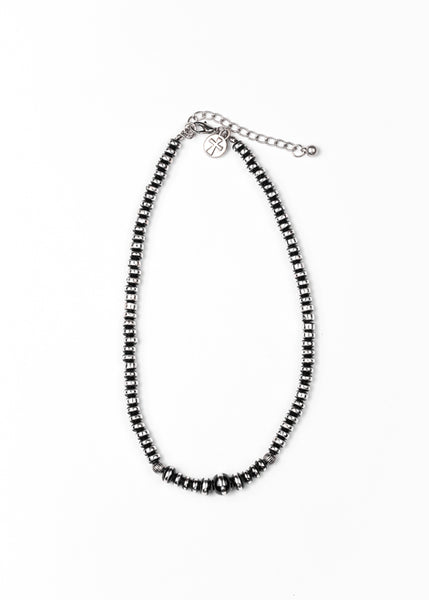 "Storefront - Silver and black faux Navajo bead 16"" rondelle necklace"