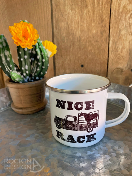 Roses and longhorn camp mug