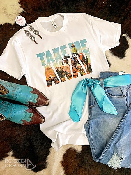 Take Me Away vintage cowboy white tee