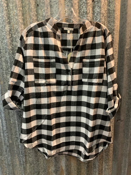 Storefront - Black & white buffalo print flannel top