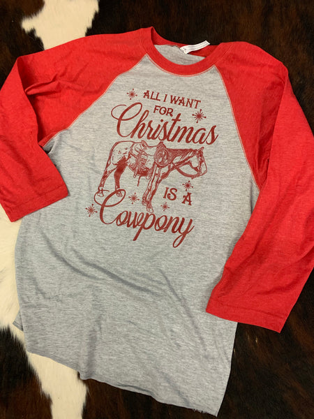 All I Want for Christmas is a Cowpony gray body baseball tee
