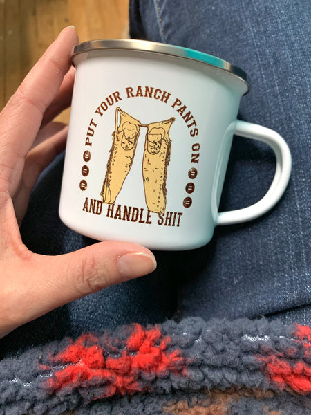 Herd It All longhorn camp mug