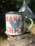 Ranch Chick floral chicken camp mug