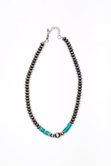 "Storefront - Faux Navajo disc 18"" necklace with turquoise"