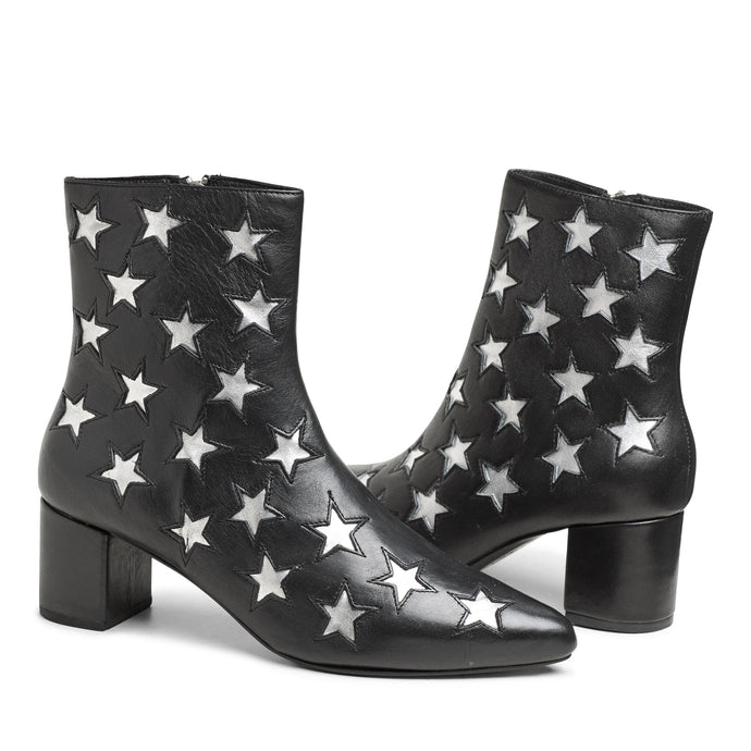 The Madison Boot - Black w/ Silver Stars
