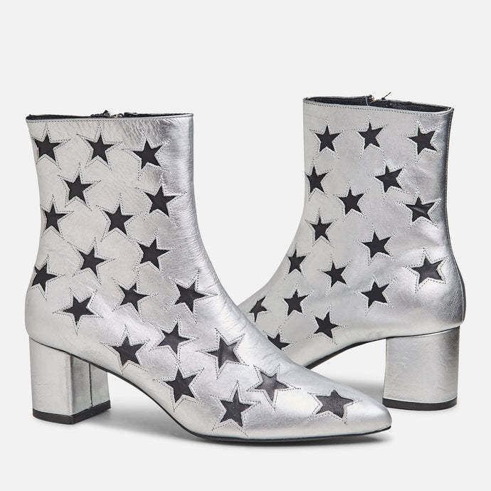 The Madison Boot - Metallic Silver w/ Black Stars