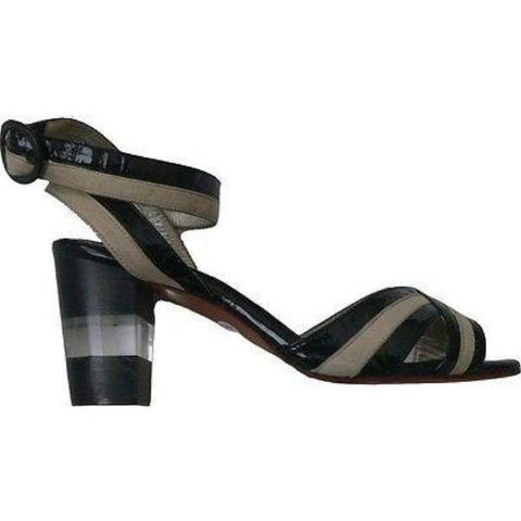 ELISA FERARE heels 7 sandals shoes black patent tan leather clear heel $650-Heels-Elisa Ferare-7-Black/tan-Jenifers Designer Closet