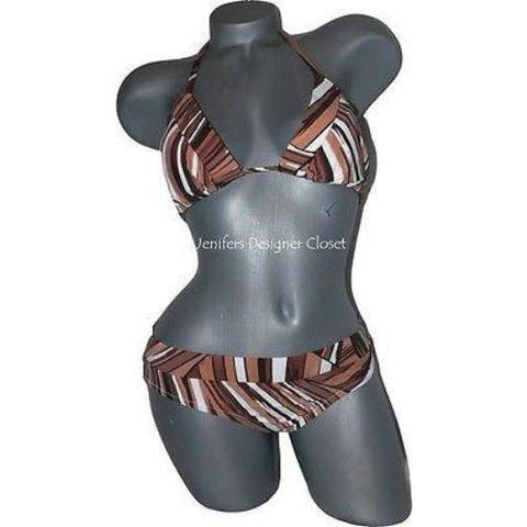 TRINA TURK 8 bikini swimsuit brown triangle slide 2PC-Clothes, Shoes & Accessories:Women's Clothing:Swimwear-Trina Turk-8-Brown-Jenifers Designer Closet