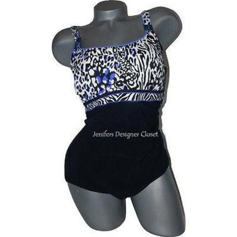 GOTTEX swimsuit tummy control 6 black cobalt black slimming-Swimwear-Gottex-6-Black/cobalt-Jenifers Designer Closet