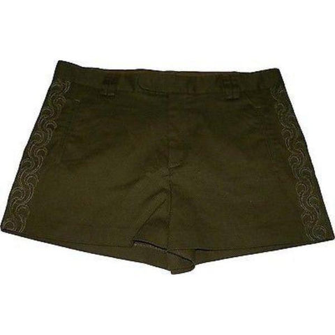 CATHERINE MALANDRINO 10 M army green shorts embroidered cutouts-Shorts-Catherine Malandrino-10-Army green-Jenifers Designer Closet
