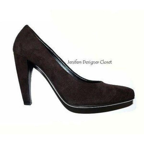 NEW PRADA heels shoes pumps 37.5 7 designer suede leather with dust bags brown - Jenifers Designer Closet