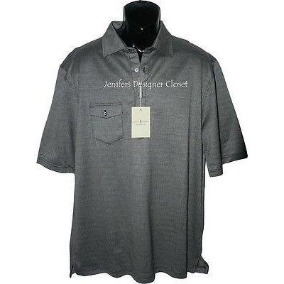 FAIRWAY & GREENE polo golf shirt XL herringbone black white Mercerized men's-Athletic Apparel-Fairway & Greene-XL-black-Jenifers Designer Closet
