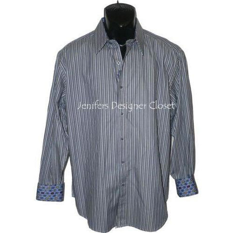 NEW ROBERT GRAHAM shirt L striped with contrasting cuffs $228 navy men's - Jenifers Designer Closet