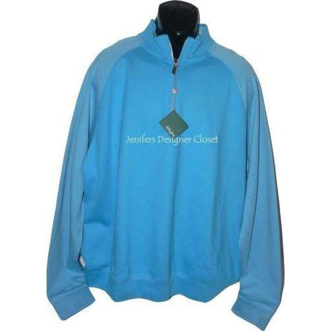 NWT BOBBY JONES Golf Pima cotton pullover 1/4 zip monogram neck men's blue - Jenifers Designer Closet