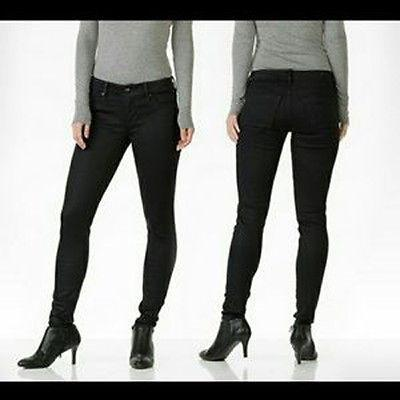 DYLAN GEORGE coated denim black skinny jeans stretch designer ankle-Jeans-Dylan George-Jenifers Designer Closet
