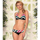 BECCA Rebecca Virtue M bikini swimsuit Chevron stripe print bold halter-Swimwear-Becca-Medium-Multi-Jenifers Designer Closet