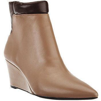 HALSTON 7.5 M wedges tan brown boots booties shoes leather-Boots-Halston-7.5-Tan-Jenifers Designer Closet