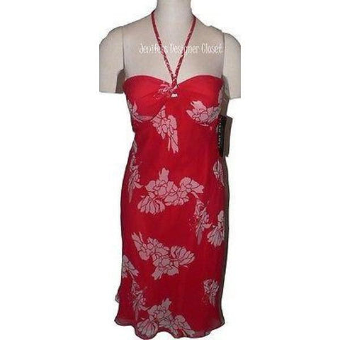 NWT MARY BAYS by Victoria Royal dress 12 strapless red floral 100% silk cocktail - Jenifers Designer Closet