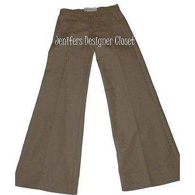 MARNI runway slacks 38/2 pants $705 trousers flare legs walnut tan flat front-Pants-Marni-38/2-Tan-Jenifers Designer Closet