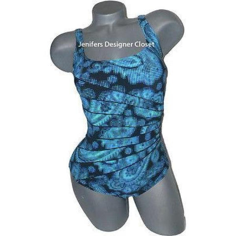 GOTTEX swimsuit 8 maillot flattering atlantic tummy control-Swimwear-Gottex-8-Blues-Jenifers Designer Closet