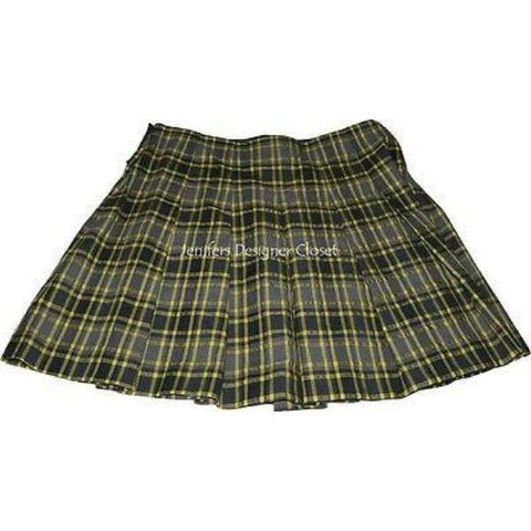 THEORY 8 pleated mini skirt $295 yellow charcoal plaid designer-Skirts-Theory-8-Yellow plaid-Jenifers Designer Closet