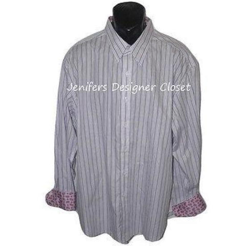 ROBERT GRAHAM shirt 2XL gray purple striped contrast cuff men's XXL paisley-Casual Shirts-Robert Graham-2XL-Gray-Jenifers Designer Closet