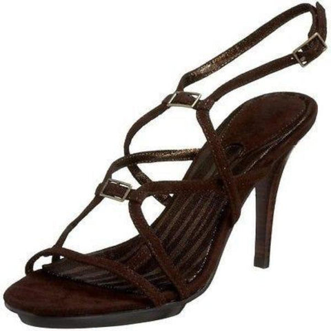 New CHARLES DAVID strappy sandals 9 suede dark brown shoes heels high ankle - Jenifers Designer Closet