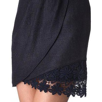 ELIE TAHARI 10 mini skirt with lace hem career cocktail navy-Clothing, Shoes & Accessories:Women's Clothing:Skirts-Elie Tahari-10-Navy-Jenifers Designer Closet