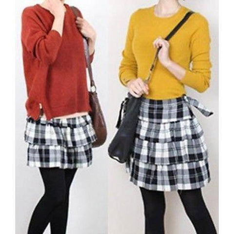 THEORY 10 tri-tiered ruffled mini skirt $215 black white plaid short-Skirts-Theory-10-Black/white-Jenifers Designer Closet