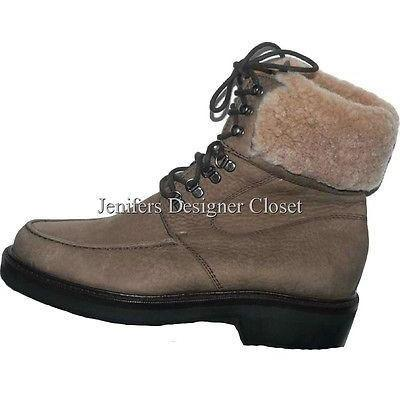 COLE HAAN boots shoes 6B fleece ankle Brown leather hiking snow nubuck suede-Boots-Cole Haan-6-tan-Jenifers Designer Closet