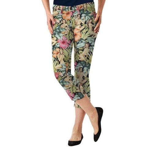 LOUDMOUTH Golf Island 0 capris pants cropped $95 ladies Hawaiian trousers-Athletic Apparel-Loudmouth-0-Multi-Jenifers Designer Closet