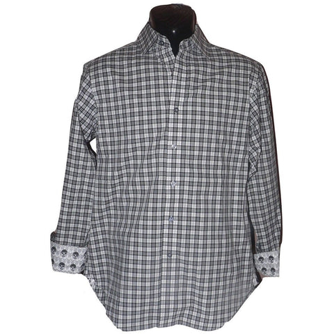 ROBERT GRAHAM shirt S black white plaid w/ skull contrast cuffs men's-Casual Shirts-Robert Graham-Small-Black/white-Jenifers Designer Closet