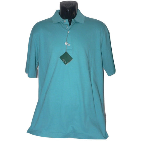 NWT BOBBY JONES M Golf polo shirt men's green teal men's cotton - Jenifers Designer Closet