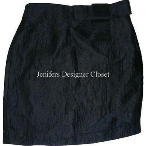 POLECI high-end designer skirt with wide bow at waist 10 black sheen career-Skirts-Poleci-10-Black-Jenifers Designer Closet