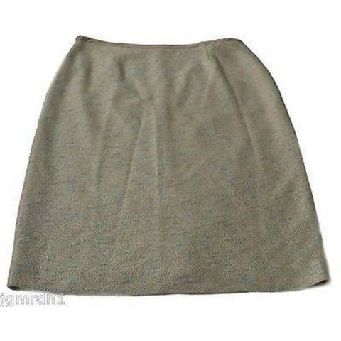 ST. JOHN COUTURE 8 skirt woven career luxury tweed $1095-Skirts-St. John-8-Natural clay-Jenifers Designer Closet